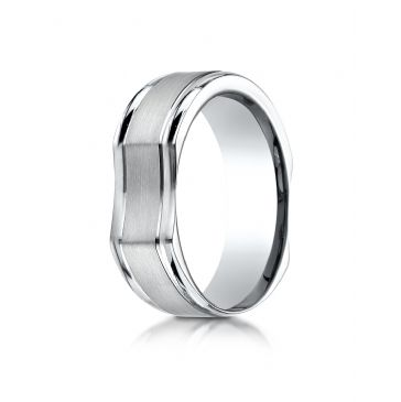14k White Gold 7mm Ergonomic Comfort-Fit Satin Finish with High Polish Edge Design Band