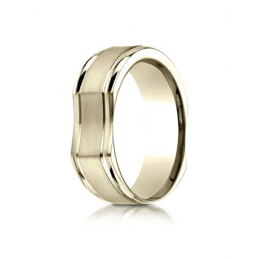 14k Yellow Gold 7mm Ergonomic Comfort-Fit Satin Finish with High Polish Edge Design Band