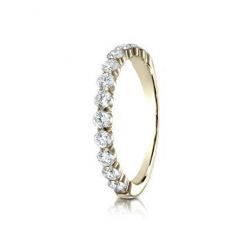 14k Yellow Gold 3mm high polish Shared Prong 12 Stone Diamond Ring (.72)