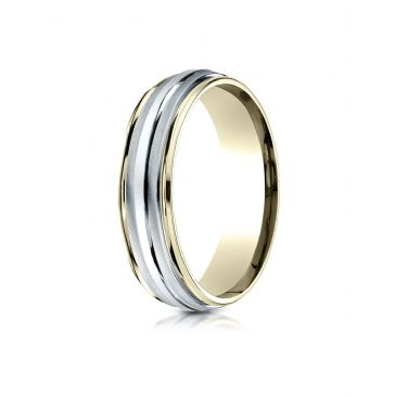 14k Two-Toned 6mm ComfortFit High Polished Carved Design Band