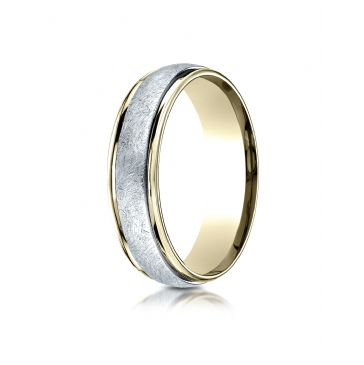 14k Two-Toned 6mm Comfort-Fit Carved Design Band with Swirl Finish