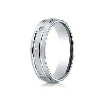18k White Gold 6mm Comfort-Fit burnish Set 8-Stone Satin Finish Diamond Eternity Ring (.16ct)