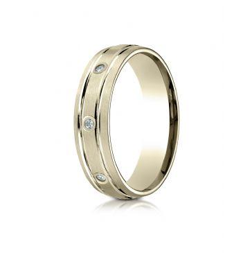 18k Yellow Gold 6mm Comfort-Fit burnish Set 8-Stone Satin Finish Diamond Eternity Ring (.16ct)