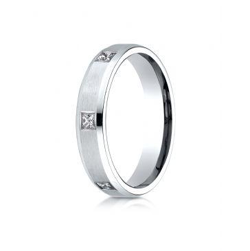 14k White Gold 4mm Comfort-Fit Princess Cut Burnish Set 6-Stone Eternity Ring (.30ct)