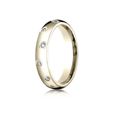 14k Yellow Gold 4mm Comfort-Fit Burnish Set 12-Stone Diamond Eternity Ring (.24ct)
