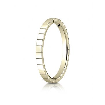 14k Yellow Gold 2mm High Polished Carved Design Band