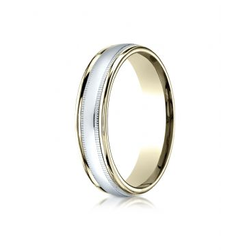 14k Two-Toned 4mm Comfort-Fit High Polished Carved Design Band with Milgrain
