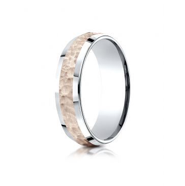 14k Two-Toned 6mm Comfort-Fit Hammer Finish Beveled Edge Design Band