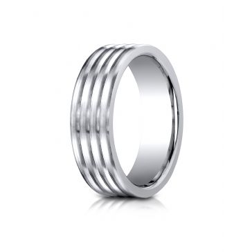 Cobaltchrome 7.0mm Comfort-Fit  Satin-Finished 4-Roll Design Ring
