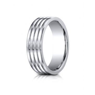 Cobaltchrome 7.0mm Comfort-Fit  Satin-Finished 4-Roll Design Ring