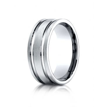 14k White Gold 8mm Comfort-Fit Satin-Finished with Parallel Grooves Carved Design Band