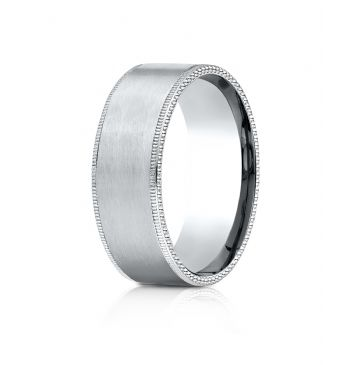 14k White Gold 8mm Comfort-Fit Riveted Edge Satin Finish Design Band