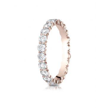 14k Rose Gold 3mm high polish Shared Prong  Diamond Eternity Ring