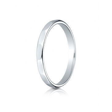 14k White Gold 2mm High Polished Faceted Design Band
