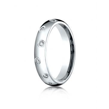18k White Gold 4mm Comfort-Fit Burnish Set 12-Stone Diamond Eternity Ring (.24ct)