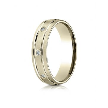 14k Yellow Gold 6mm Comfort-Fit burnish Set 8-Stone Satin Finish Diamond Eternity Ring (.16ct)
