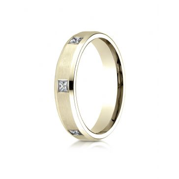 18k Yellow Gold 4mm Comfort-Fit Princess Cut Burnish Set 6-Stone Eternity Ring (.30ct)