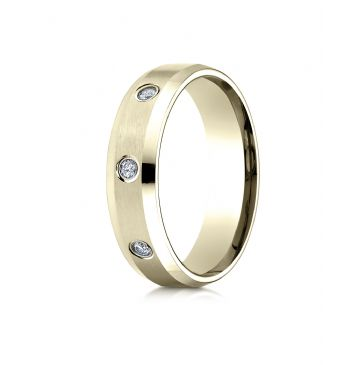 14k Yellow Gold 6mm Comfort-Fit High Polish Edge Satin Center Burnish Set 8 Stone Diamond Eternity Ring (.32ct)