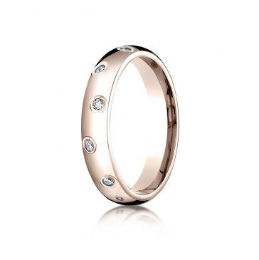 14k Rose Gold 4mm Comfort-Fit Burnish Set 12-Stone Diamond Eternity Ring (.24ct)