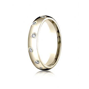 18k Yellow Gold 4mm Comfort-Fit Burnish Set 12-Stone Diamond Eternity Ring (.24ct)