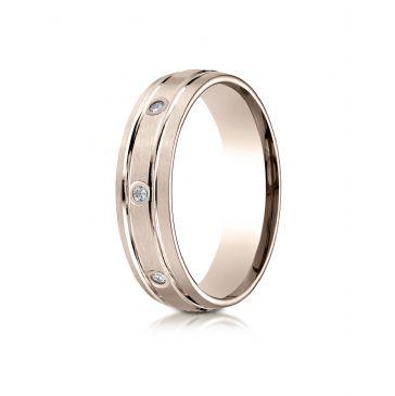 14k Rose Gold 6mm Comfort-Fit burnish Set 8-Stone Satin Finish Diamond Eternity Ring (.16ct)