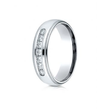 14k White Gold 6mm Comfort-Fit Channel Set 7-Stone Diamond  Ring (.42ct)
