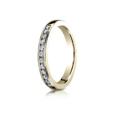 14k YELLOW GOLD 3mm High Polished Channel Set 12-Stone Diamond Ring (.24ct)