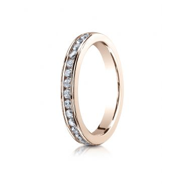 14k ROSE GOLD 3mm High Polished Channel Set 16-Stone Diamond Ring (.32ct)