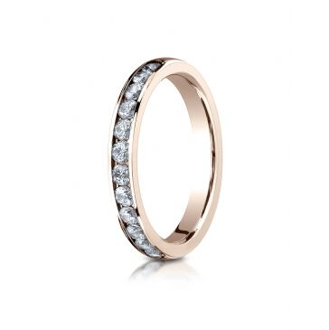 14k ROSE GOLD 3mm High Polished Channel Set 12-Stone Diamond Ring (.48ct)