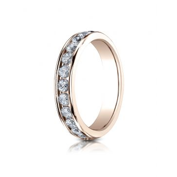 14k ROSE GOLD 4mm High Polished Channel Set 12-Stone Diamond Ring (.72ct)