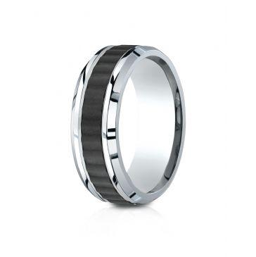 Cobaltchrome 8mm Comfort-Fit Beveled Edge Black Titanium Riveted Inlay Design Ring