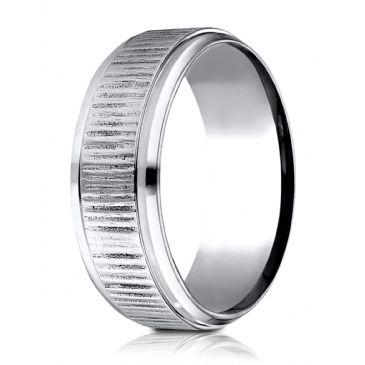 Cobaltchrome 8 mm Comfort Fit Horizonal Bark Pattern Design Ring