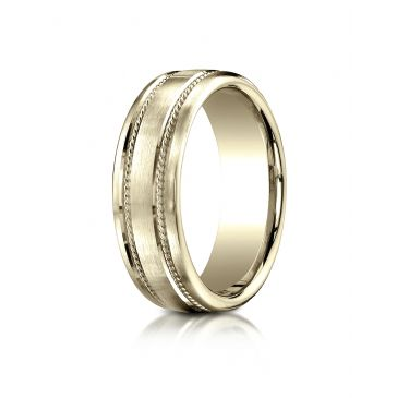 18k Yellow Gold 7.5mm Comfort-Fit Satin-Finished Rope Carved Design Band
