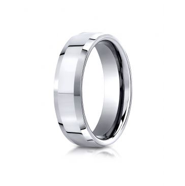 Cobaltchrome 7mm Comfort-Fit High Polished Beveled Edge Design Ring