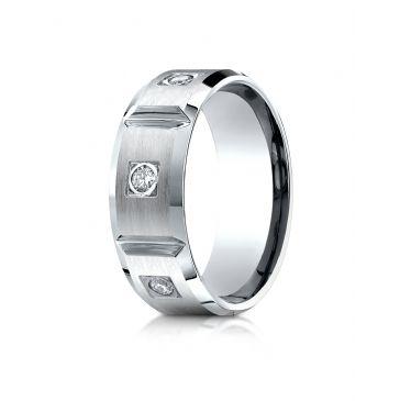 18k White Gold 8mm Comfort-Fit Burnish Set 6-Stone Diamond Eternity Ring (.50ct)