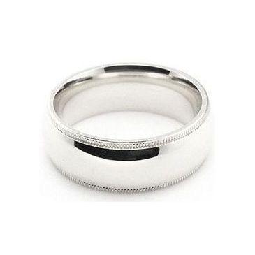 Platinum 950 7mm Comfort Fit Milgrain Wedding Band Heavy Weight