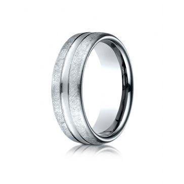 14k White Gold 7.5 mm Comfort Fit Swirled Finish Center Convex Cut Design Band