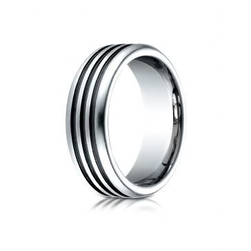 Cobaltchrome 7.5mm Comfort-Fit 3 Black Channel Design Ring