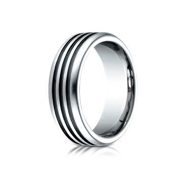 Cobaltchrome 7.5mm Comfort-Fit 3 Black Channel Design Ring