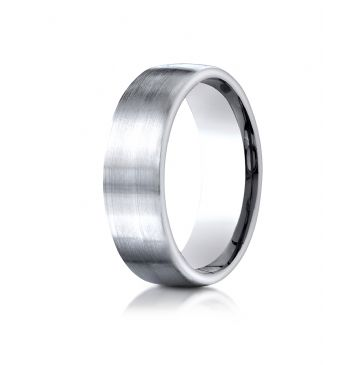 14k White Gold 7.5mm Comfort-Fit  Satin Finish Design Band