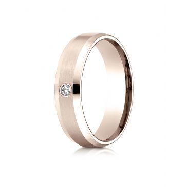 14k Rose Gold 6mm Comfort-Fit Beveled Burnish Set 1-Stone Diamond Ring (.08ct)