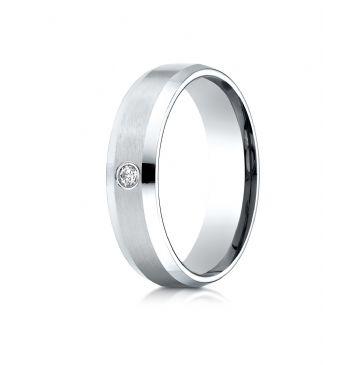 18k White Gold 6mm Comfort-Fit Beveled Burnish Set 1-Stone Diamond Ring (.08ct)