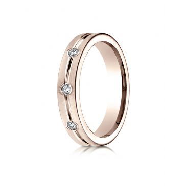 14k Rose Gold 6mm Comfort-Fit Etched Burnish Set 8-Stone Diamond Eternity Ring (.32ct)
