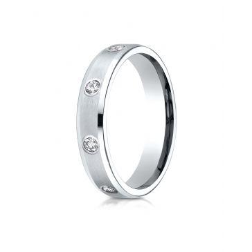 18k White Gold 4mm Comfort-Fit High Polish Edge Satin Center Burnish Set 8-Stone Diamond Eternity Ring (.32ct)