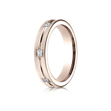 14k Rose Gold 4mm Comfort-Fit Princess Cut Burnish Set 6-Stone Eternity Ring (.30ct)