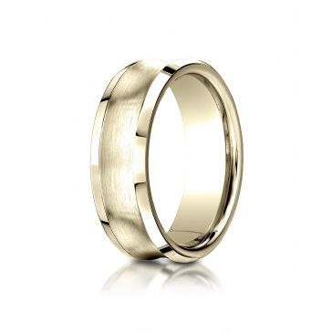 14k Yellow Gold 7.5mm Comfort-Fit Satin-Finished Concave beveled edge  Design Band