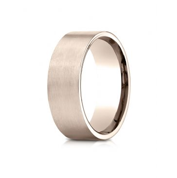 14k Rose Gold 8mm Comfort-Fit Satin-Finished Carved Design Band