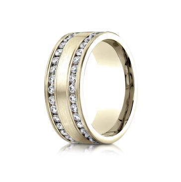 18k Yellow Gold 8mm Comfort-Fit Double Row Channel Set 66-Stone Diamond Eternity Ring (1.32ct)