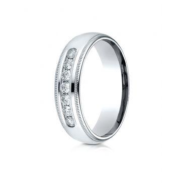 PALLADIUM 6mm Comfort-Fit Channel Set 7-Stone Diamond  Ring (.42ct)