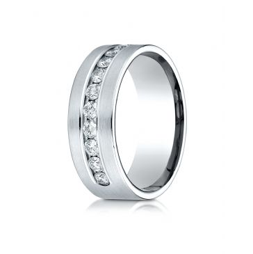18k White Gold 8mm Comfort-Fit  Channel Set 12-Stone Diamond  Ring (.96ct)